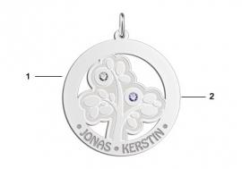 Zilveren stamboom met geboortestenen Names4ever