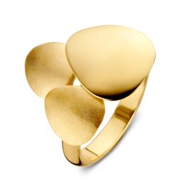 Excellent Jewelry Gouden Ring met Drie Decoratieve Plaatjes