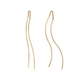 Goudkleurige Oorhangers met Golvende Stroken van M&M