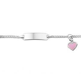 Zilveren Graveer Armband met Roze Hart Bedel