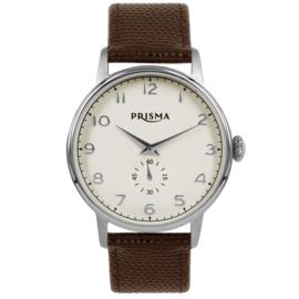Rond Prisma Heren Horloge met Bruine Horlogeband