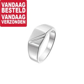 Zilveren Ring voor Heren met Diagonale Lijnen | Ringmaat 20,2