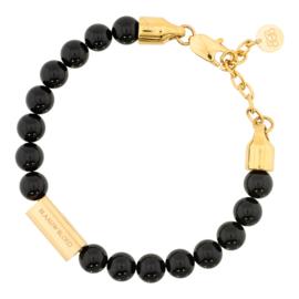 Blaauw Bloed Royal Obsidiaan Armband met Goudkleurige Bedel