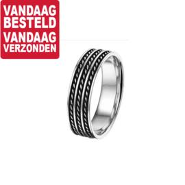 Graveer Heren Ring van Zilver met Geoxideerd Zilveren Stroken