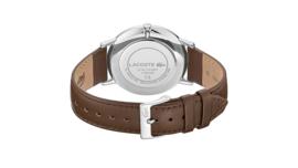Lacoste Zilverkleurig Heren Horloge met Bruin Lederen Horlogeband