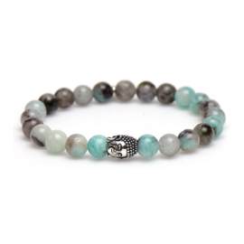 Aquablauw Gekleurde Karma Armband met Zilveren Buddha 86766