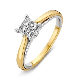 Excellent Jewelry Bicolor Ring met Vierkant Diamant Kopstuk
