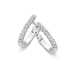 Excellent Jewelry Slanke Creolen van Witgoud met 0,21 crt. Diamanten