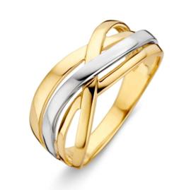Excellent Jewelry Geelgouden Intrigerende Ring met Witgouden Strook