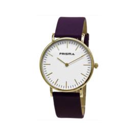 Prisma Goudkleurig Unisex Note Horloge met Paarse Band