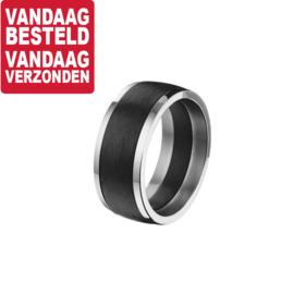 Carbon Ring met Glanzende Edelstalen Randen / 20,2