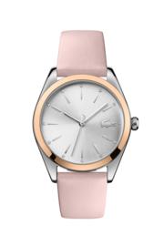 Lacoste Roségoudkleurig Parisienne Dames Horloge met Roze Leder