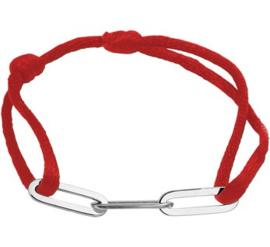 Rood Gevlochten Armband met Zilveren Schakels