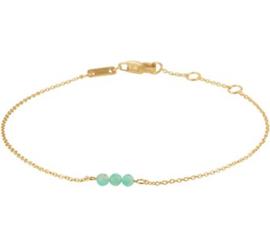 Gouden Schakelarmband met Turquoise Bolletje voor Dames
