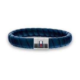 Brede Gedraaide Blauw Lederen Heren Armband van Tommy Hilfiger TJ2701058