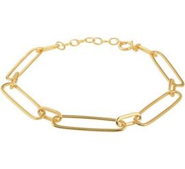 Goudkleurige Paperclip Armband voor Dames
