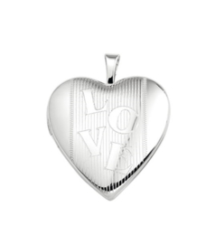 Hartvormig Foto Medaillon van Zilver met LOVE