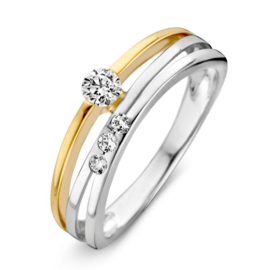 Excellent Jewelry Slanke Bicolor Ring met Zirkonia's voor Dames