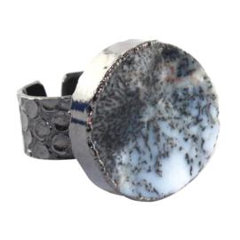 Ring met Dendrite Opaal Natuursteen van Sujasa