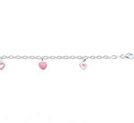 Kinderarmband met Roze Harthangers