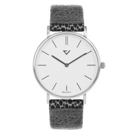 Prisma Zilverkleurig Dames Horloge met Stijlvolle Grijze Band