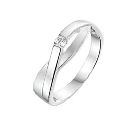 Zilveren Zirkonia Ring met Gepolijste en Matte Afwerking / Maat 17