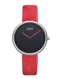 M&M Horloge met Zilverkleurige Kast en Rode Horlogeband