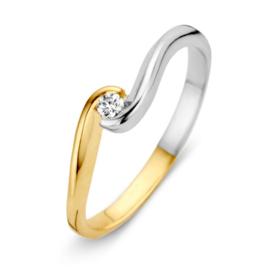 Excellent Jewelry Bicolor Ring met Gedraaid Zirkonia Kopstuk
