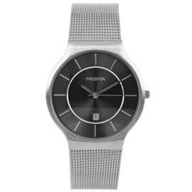 Zilverkleurig Heren Horloge met Milanese Horlogeband en Zwarte Wijzerplaat