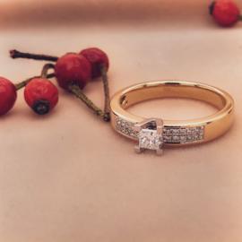 Excellent Jewelry Geelgouden Ring met Princess geslepen Middensteen