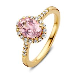 Excellent Jewelry Gouden Ring met Morganiet Edelsteen en Diamanten