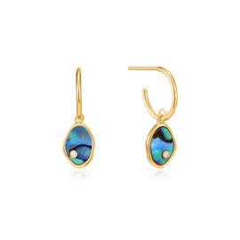 Ania Haie Turning Tides Goudkleurige Mini Oorringen met Blauwe Natuursteen