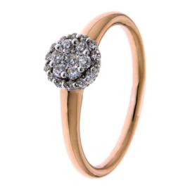 Excellent Jewelry Roségouden Ring met Witgouden Diamanten Kopstuk