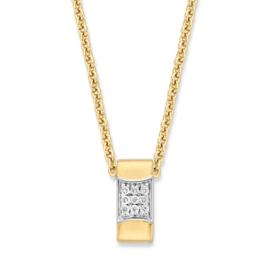 Excellent Jewelry Geelgouden Collier met Rechthoekige Briljant Hanger
