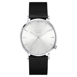 Zilverkleurig KANE Horloge met Zwarte Milanese Horlogeband