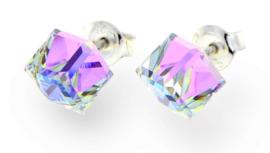 Stevige Licht Paarse Swarovski Kubus Oorstekers van Spark Jewelry