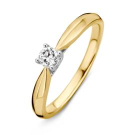Excellent Jewelry Bicolor Ring met Vernauwing en 0,19 crt. Briljant