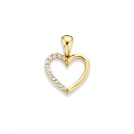 Excellent Jewelry Geelgouden Opengewerkte Harthanger met Briljant
