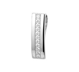 Licht Gekromde Rechthoekige Zilveren Hanger met Zirkonia's