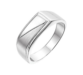 Zilveren Heren Ring met Gepolijst en Mat Oppervlak / maat 20,5