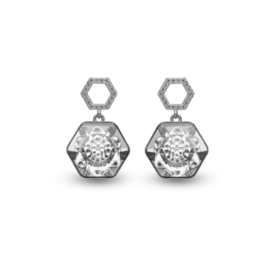 Favo Oorbellen met Wit Swarovski Kristal van Spark