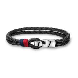Dubbele Gevlochten Zwart Lederen Armband van Tommy Hilfiger TJ2700670