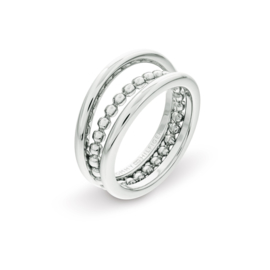 Edelstalen Dubbele Dames Ring van Tommy Hilfiger 17,25mm (ringmaat 54)