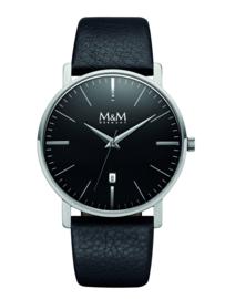 New Classic Heren M&M Horloge met Zwart Lederen Horlogeband