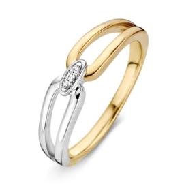 Excellent Jewelry Bicolor Ring met Drie Diamanten Kopstuk