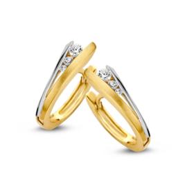 Excellent Jewelry Bicolor Creolen met Drie Zirkonia's