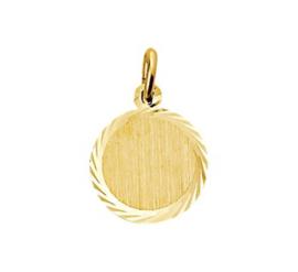 Ronde Graveer Hanger van Goud 12mm | Initial Coin Letter Hanger