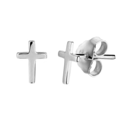 Zilveren Kruis Oorknoppen met Rhodium