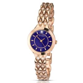 Roségoudkleurig Dames Horloge van Sekonda met Blauwe Wijzerplaat