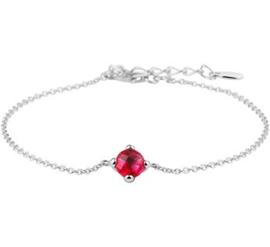 Zilveren Anker Armband met Synthetische Rode Robijn